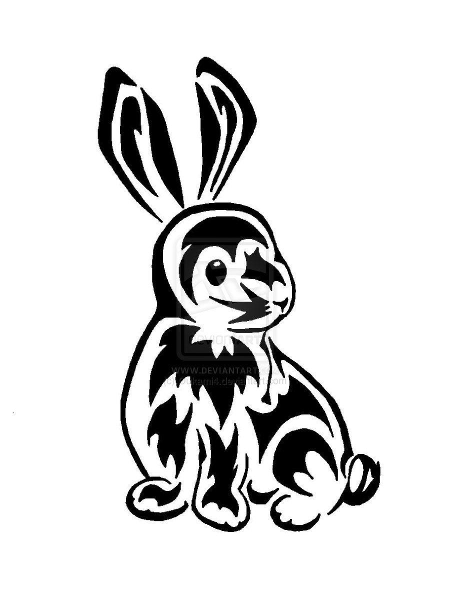 f697b38ca rabbit tattoo   Tribal Rabbit Tattoo   tattoo ideas   Rabbit tattoos ...