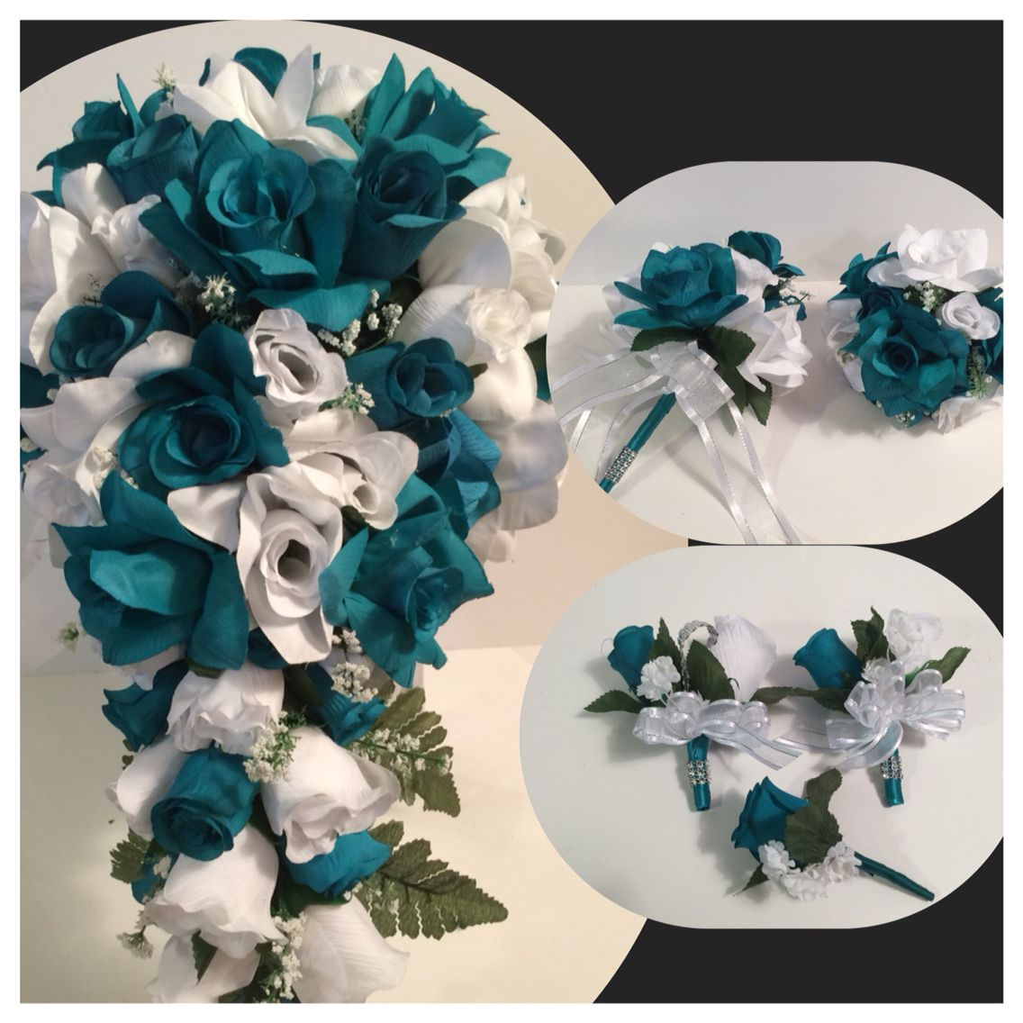Teal and white Bridal Bouquet Packsge
