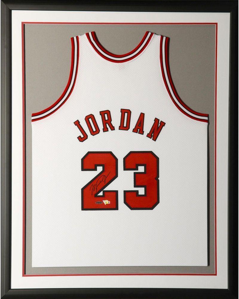 Michael Jordan Chicago Bulls Framed Signed 1997-98 Mitchell   Ness White  Jersey  Basketball b3db8b296