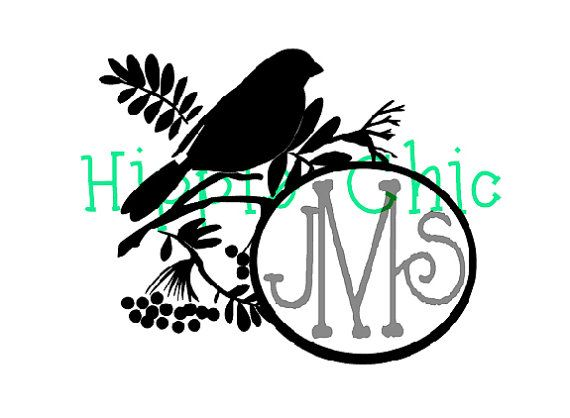bird on a branch 3 letter monogram indoorhippiechicsmakings