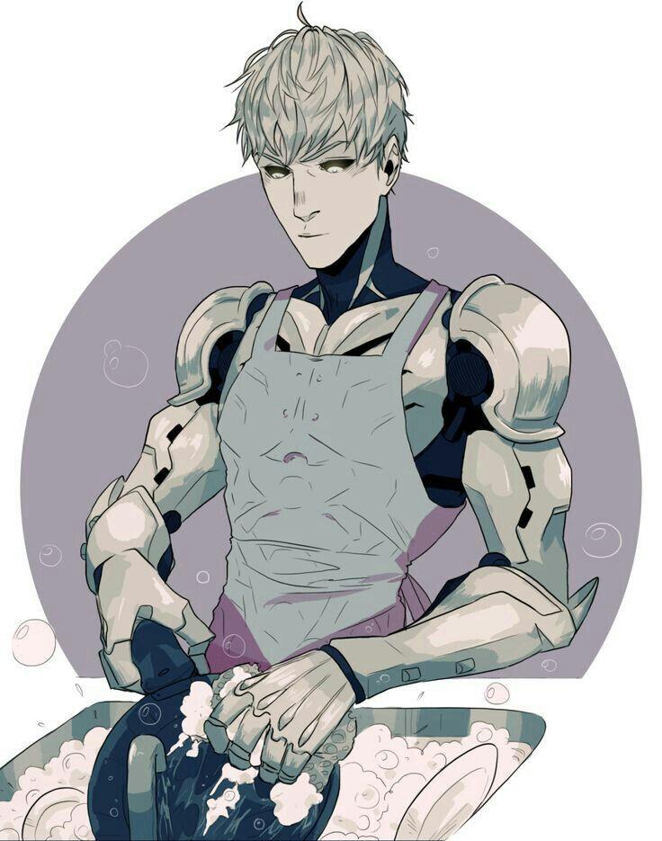 Genos, apron, washing dishes; One Punch Man
