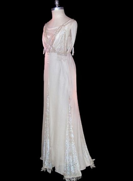 C. 1910 Micro sequin and beaded fringe trimmed chiffon wedding gown. TheFrock.com