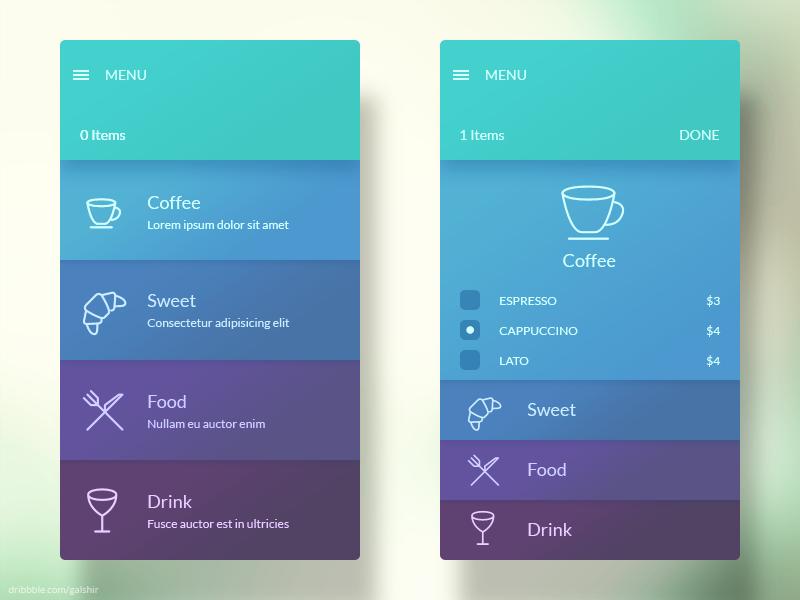 Menu Interface Mobile app design, App design, App design