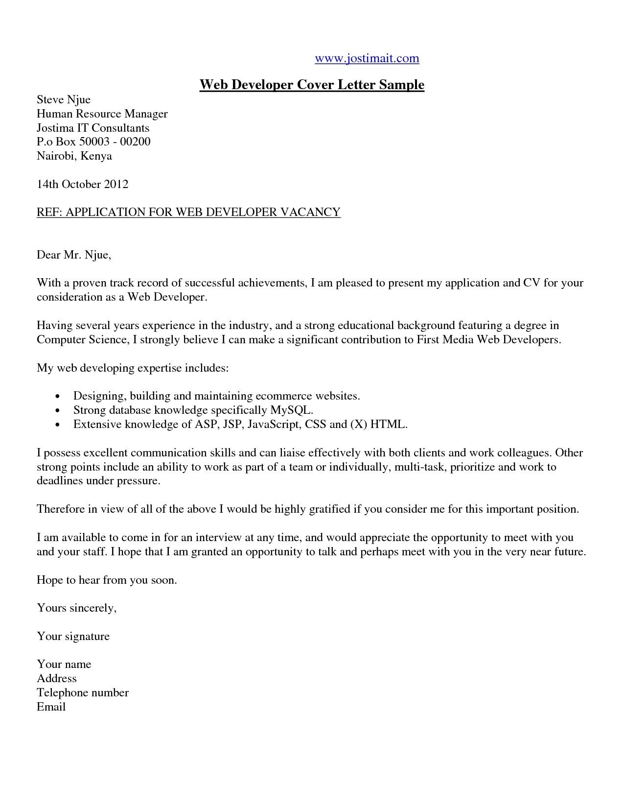 27+ Web Developer Cover Letter | Resume Cover Letter Example ...