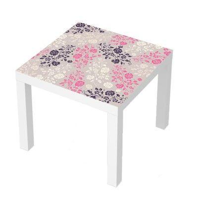 Stickers Pour Table Basse Lack 55x55 Motifs Floraux Roses Deco