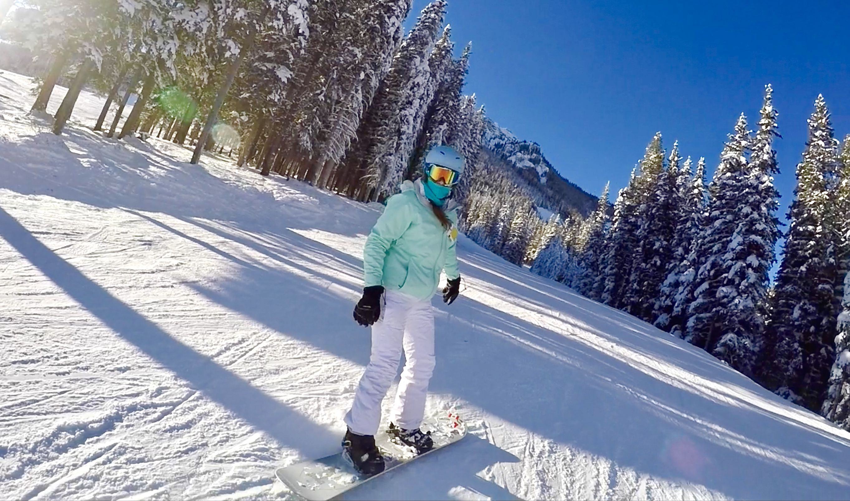 snowboarding at mount norquay in banff national park in alberta
