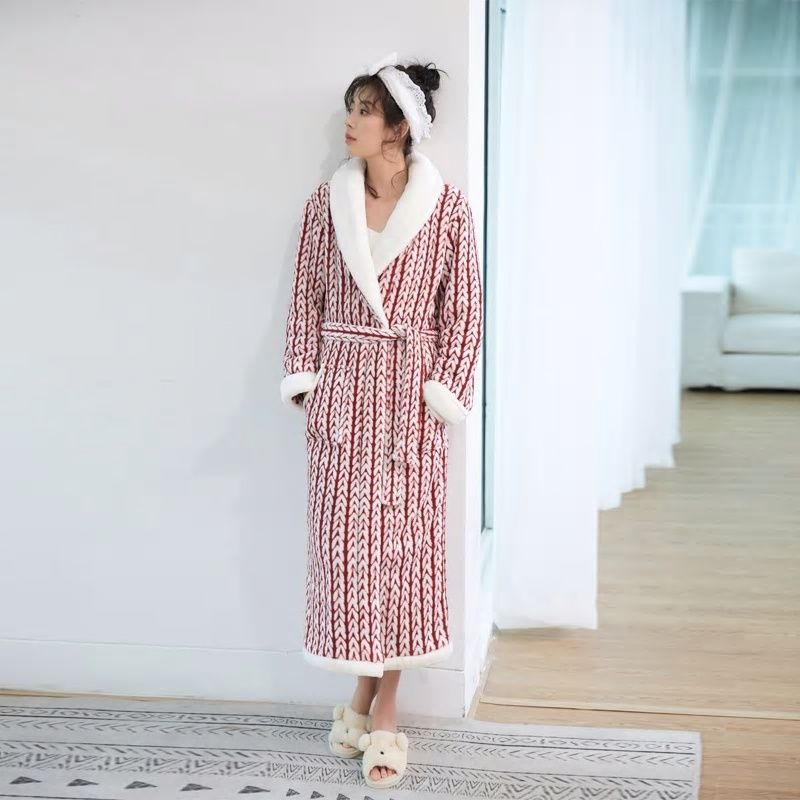 71bfb42943 Lovers Plus Size Winter Flannel robe extra Long Warm Bathrobe Men Women  Thick Winter Kimono Bath Robes Male Dressing Gown Robes
