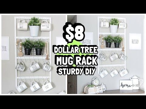 $8 DOLLAR TREE MUG RACK ORGANIZER DIY WAL-MART WOOD