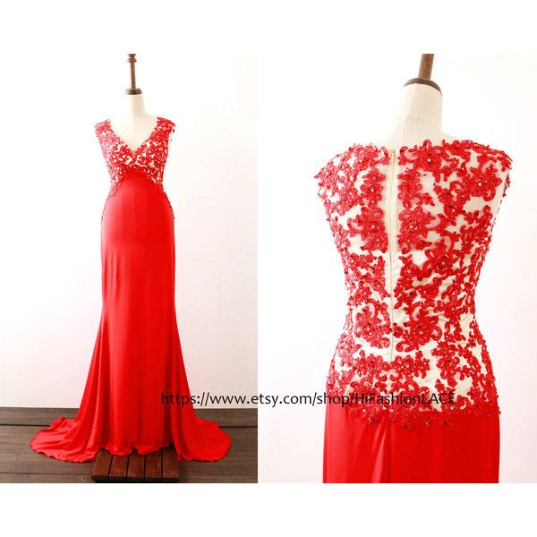 Evening Dress Red Prom Dress Mermaid v Neck Jersey Red Long Prom Gown... ($149) ❤ liked on Polyvore featuring dresses, gowns, light pink, women's clothing, long evening dresses, long red evening dress, long sleeve ball gowns, red formal gown and red bridesmaid dresses