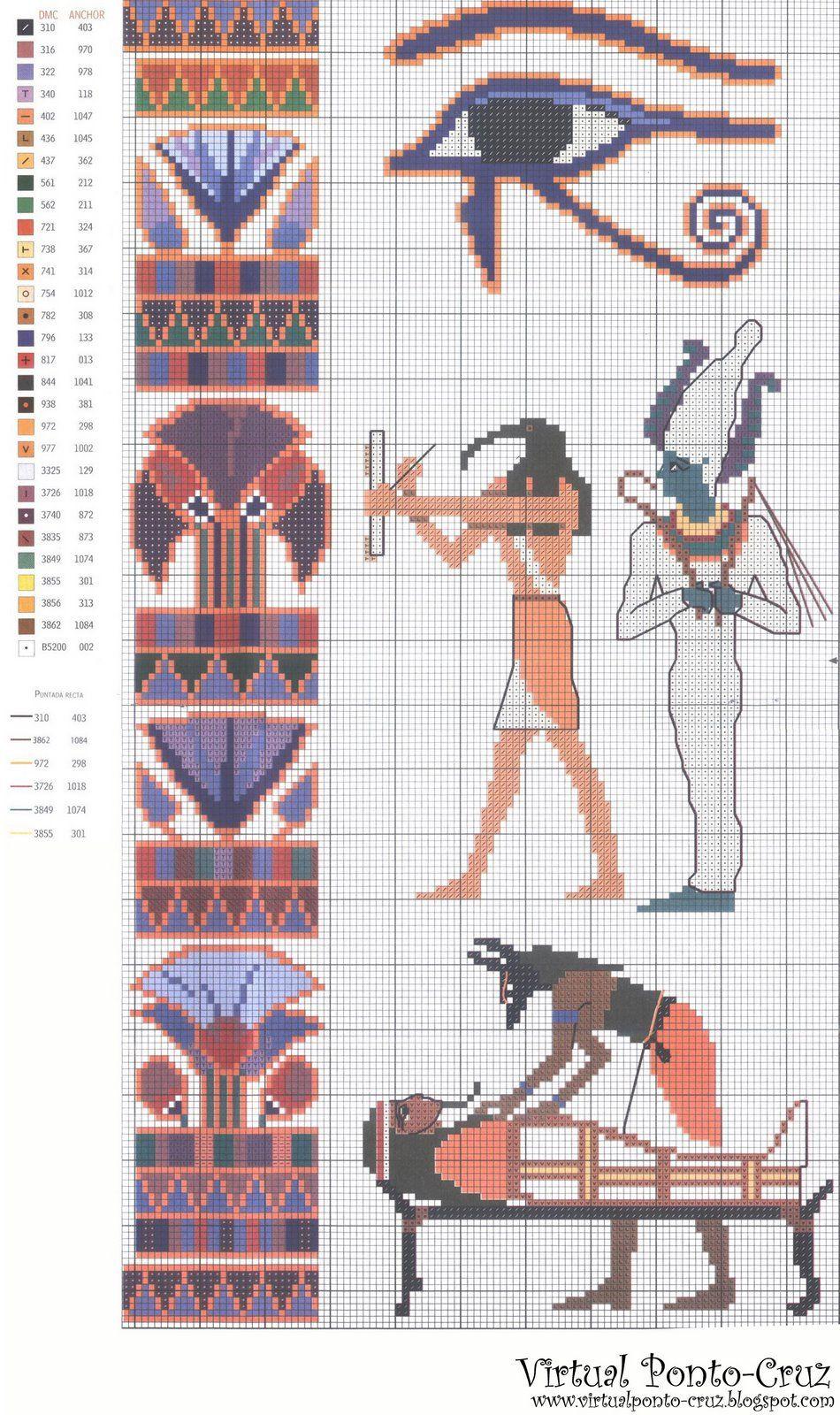 ENCANTOS EM PONTO CRUZ: Egípcio | Ägypten | Pinterest | Kreuzstich ...