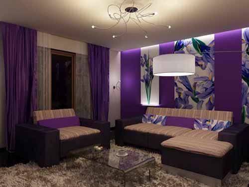 افكار ديكورات غرف جلوس مودرن صغيرة المساحة بالصور Purple Living Room Purple Bedroom Decor Living Room Paint