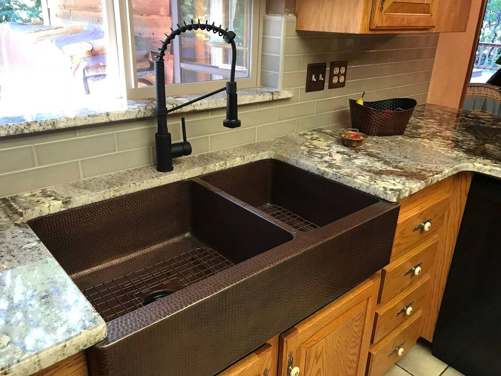 We Love How This Copper Hammered Kitchen Apron 60 40 Double Basin