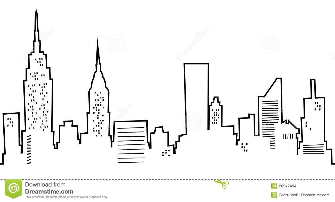 Line Drawing Nyc : Cartoon manhattan skyline of new york