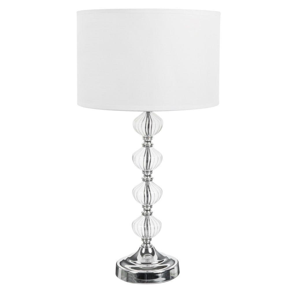 Lampe Montmarault Aus Glas Mit Fuss Und Lampenschirm Aus Stoff H 53 Cm Weiss Jetzt Bestellen Unter Https Moebel La Lampenschirm Aus Stoff Lampe Lampenschirm