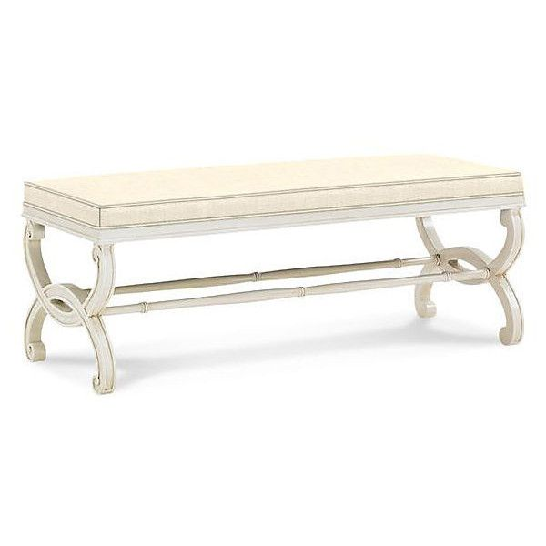 Charlottesville Bench Natural Linen Entryway Bench Bedroom Bench ($1,629) ❤  Liked On Polyvore Featuring