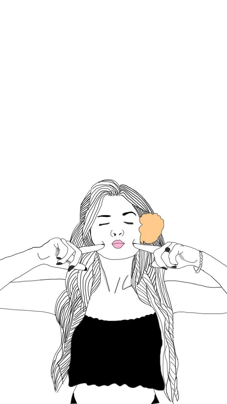 Iphone Iphone Wallpaper Girl Illustrator Gambar Lucu Seni