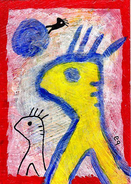 phantom leg syndrome e9Art ACEO Outsider Art Brut Primitive Painting Original #OutsiderArt