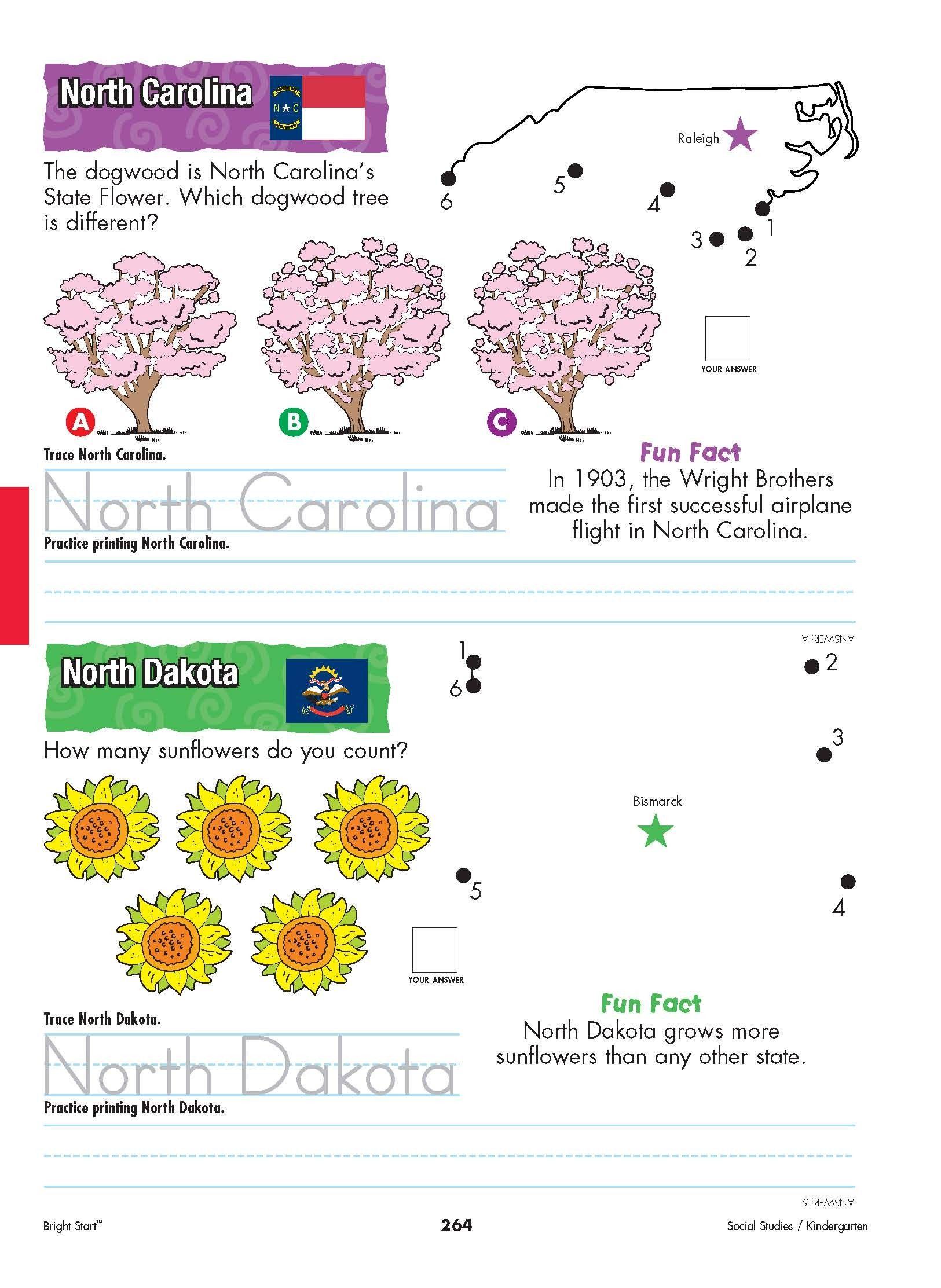 North Carolina and North Dakota Your kindergartener can practice