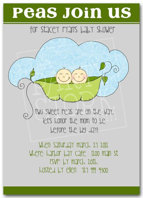 Twin Baby Shower Invitation Printable Invite For Boys Or S Two Peas In A Pod You Print More Invitations Available At The Party Stork