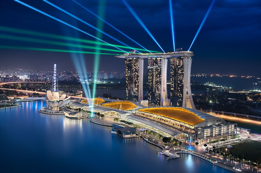 The Marina Bay Sands Integrated Resort And Casino Is Located Just Opposite The Marina Bay Street Circuit Sands Singapore Singapore Travel Visit Singapore