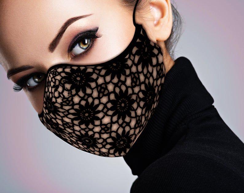 Designer Face Mask - Beige & Black Lace Print - Fa
