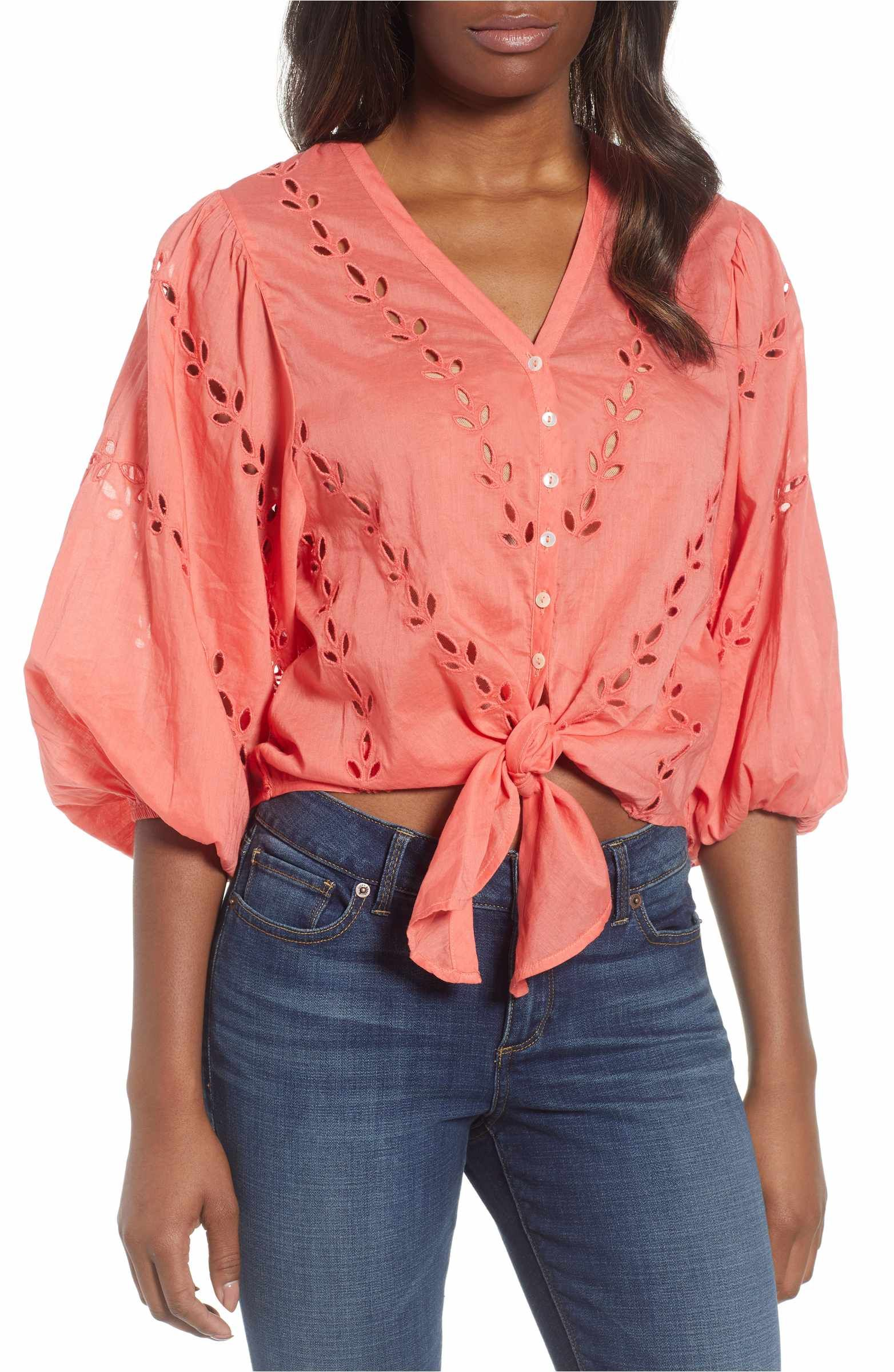Eyelet Tie Front Cotton Peasant Blouse Peasant Blouse Lucky Brand