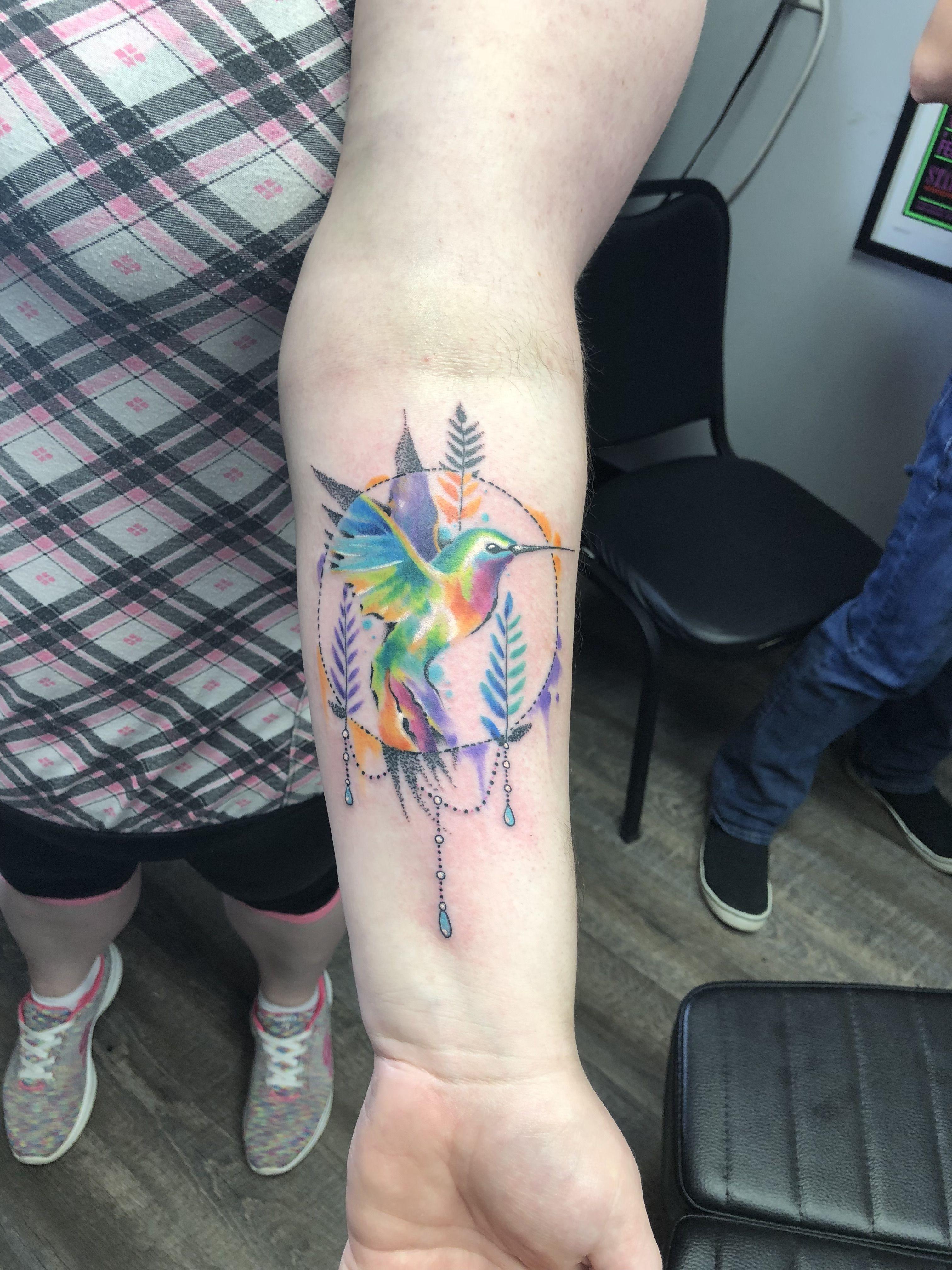Watercolor Hummingbird Tattoo Done By Matt Hummingbirdtattoo