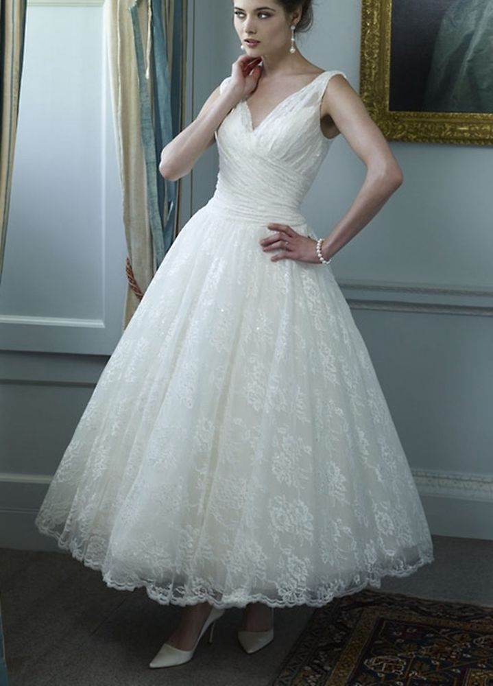 Hot White/Ivory V-neck lace Tea Length Bridal dress Wedding dress ...