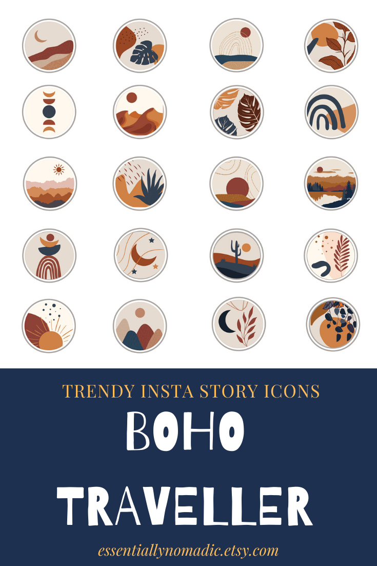 Boho Travel Instagram Stories Highlight Icons Abstract Art Bohemian Social Media Story Cover Blog Branding Digital Download Instagram Highlight Icons Boho Travel Instagram Aesthetic This set includes 16 abstract line art face highlight icons that will keep your profile. boho travel instagram stories highlight