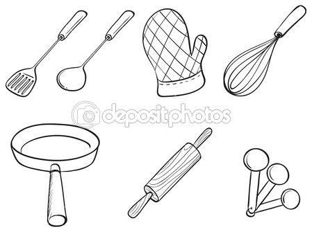 Silhouettes Of Kitchen Utensils Tatuaje De Bombilla Utensilios Cocinar Dibujo
