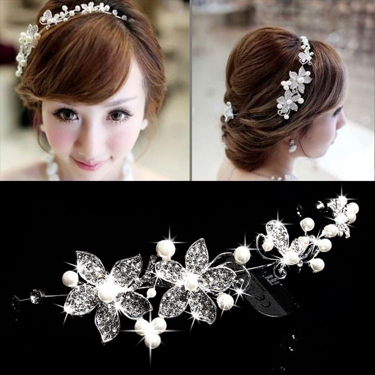 Bridal Alloy Set Auger Simulated Pearl Headbands Wedding Hair Accessories Jewelry Tiaras And Crowns De Noiva