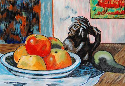 Natureza Mmorta com maçãs , Pera e o Vaso de Cerâmica - Após Paul Gauguin