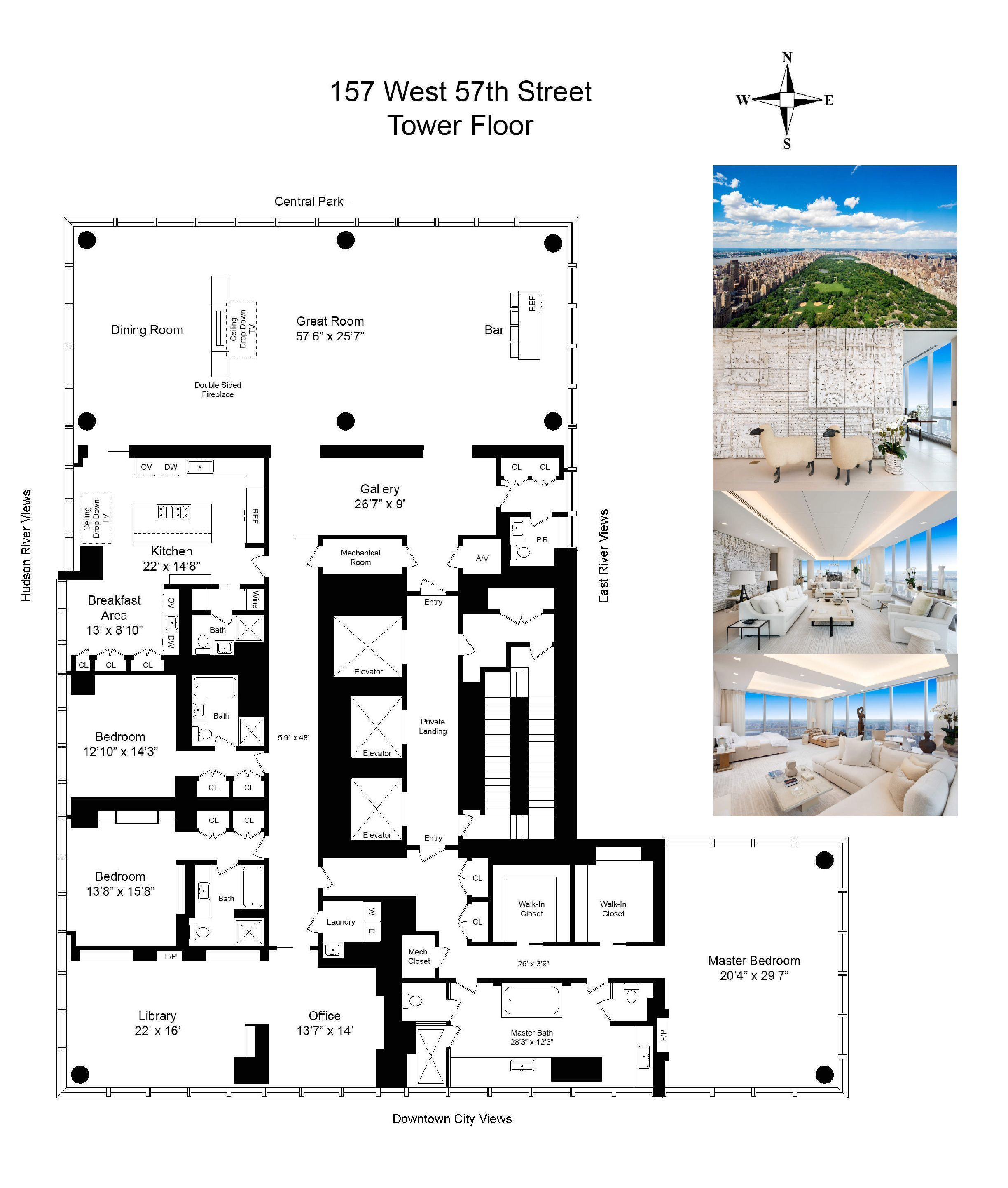 Manhattans most significant residence one 57 condominium 6240 sq ft