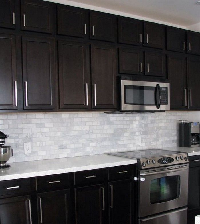 Brown Cabinet Kitchen Ideas: Modern Kitchen With White Subway Tile Backsplash With Dark