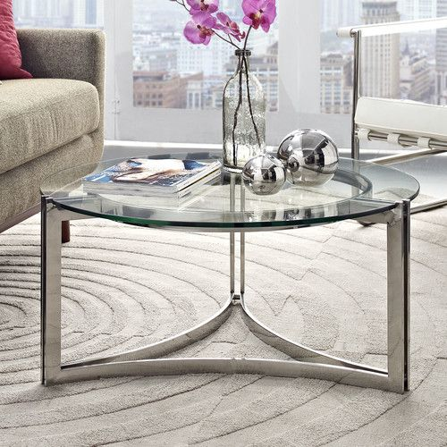 Stainless Steel Coffee Table, Round Glass And Stainless Steel Coffee Table