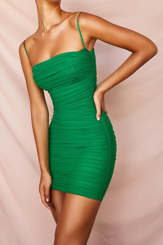 Clothing Bodycon Dresses Ella Emerald Green Ruched Organza Mesh Mini Dress Green Mini Dress Mini Dress Green Bodycon Dress