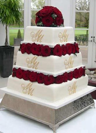 Roses  wedding cake   Blocked with deep red roses  the bride and      Roses  wedding cake   Blocked with deep red roses  the bride and groom s  initials are piped on to this simple and beautiful square wedding cake