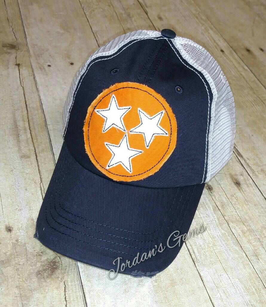 e4a0cc58b9f10 Tennessee Tristar Raggy Patch Embroidered Trucker Hat by JordansGems2 on  Etsy Orange Fabric