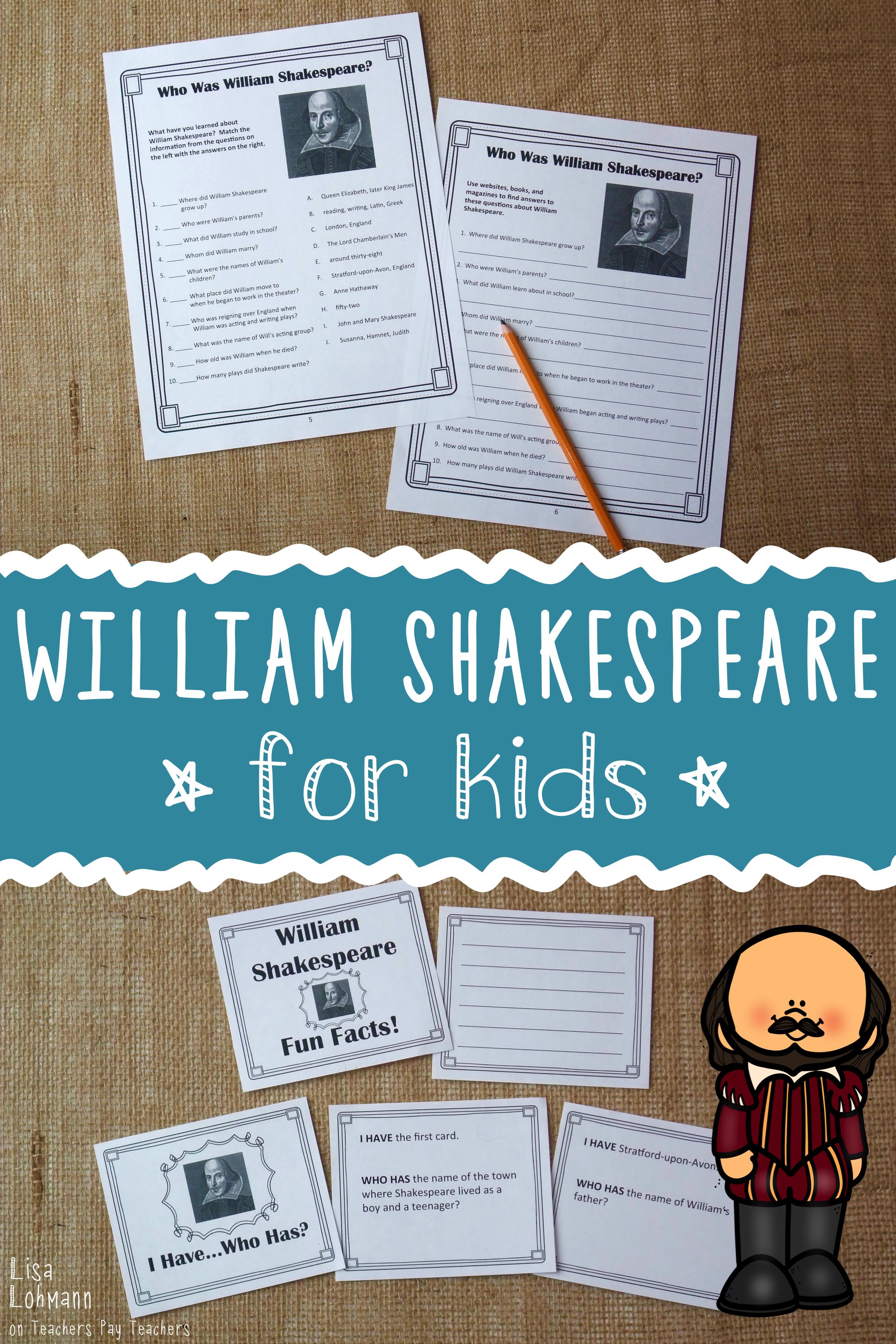 William Shakespeare For Kids William Shakespeare For Kids Teaching Shakespeare Novel Study Activities [ 3374 x 2249 Pixel ]