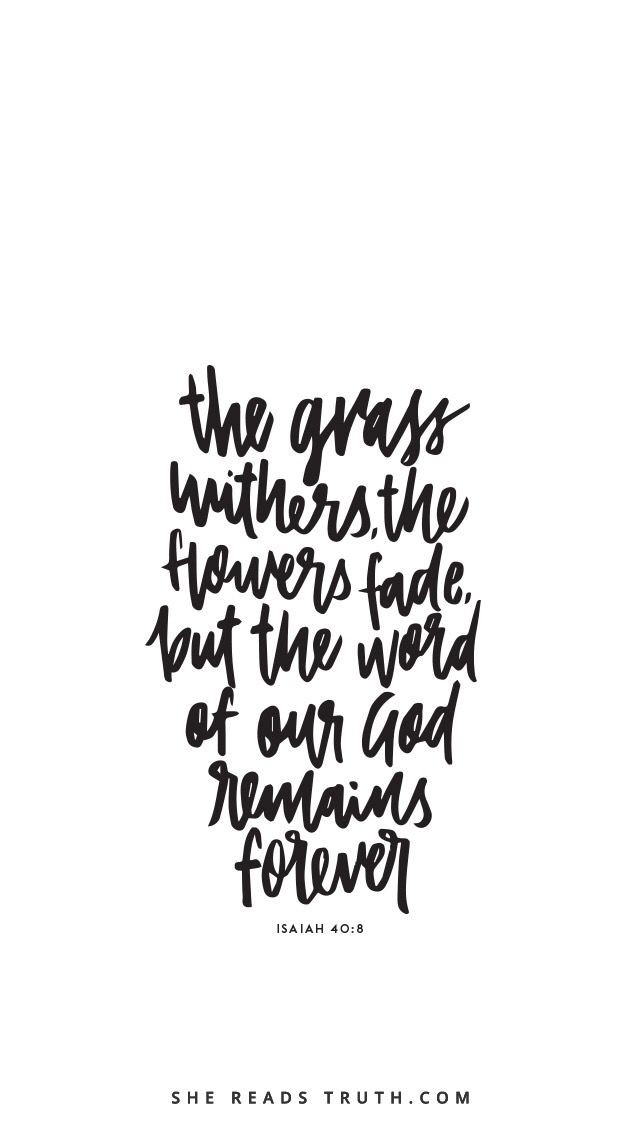 """""""The grass withers, the flowers fade, but the word of God remains forever"""" Isaiah 40:8"""