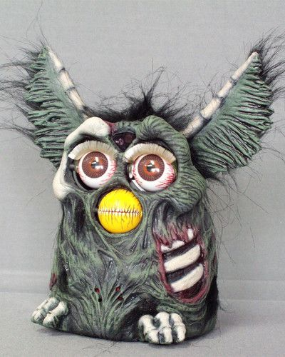 GREEN-ZOMBIE-FURBY-One-of-a-Kind-Customized-and-Zombified
