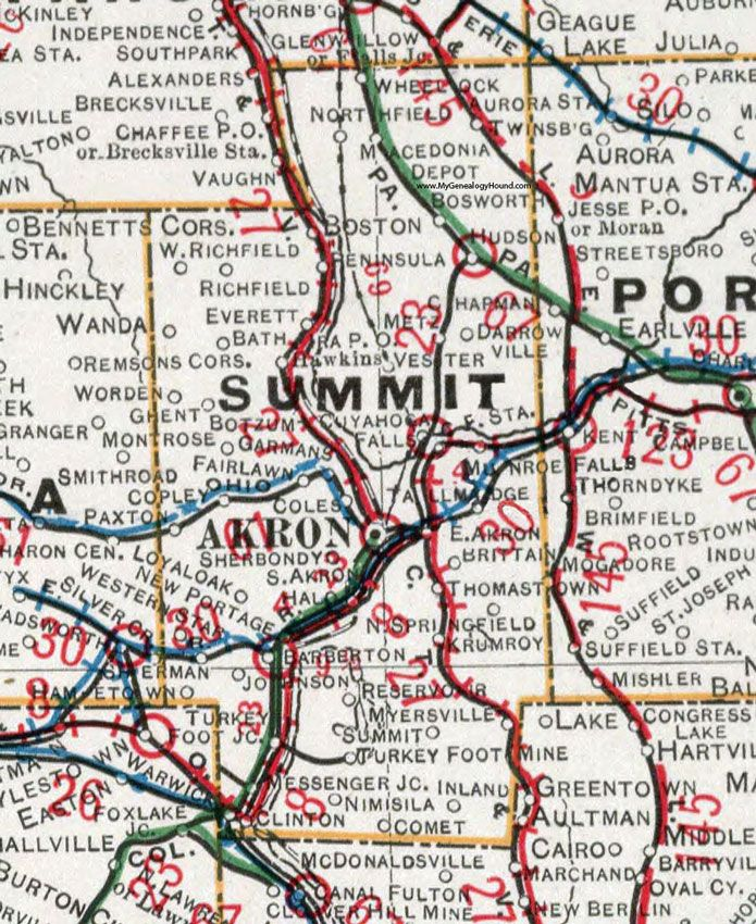 Fairlawn Ohio Map.Summit County Ohio 1901 Map Akron Tallmadge Cuyahoga Falls