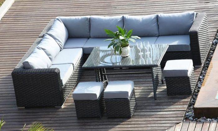 Papaver Rattan Range Nine Seater Corner Sofa And Dining Set In Grey For 599 99 Corner Sofa Garden Corner Sofa Set Furniture Sofa Set