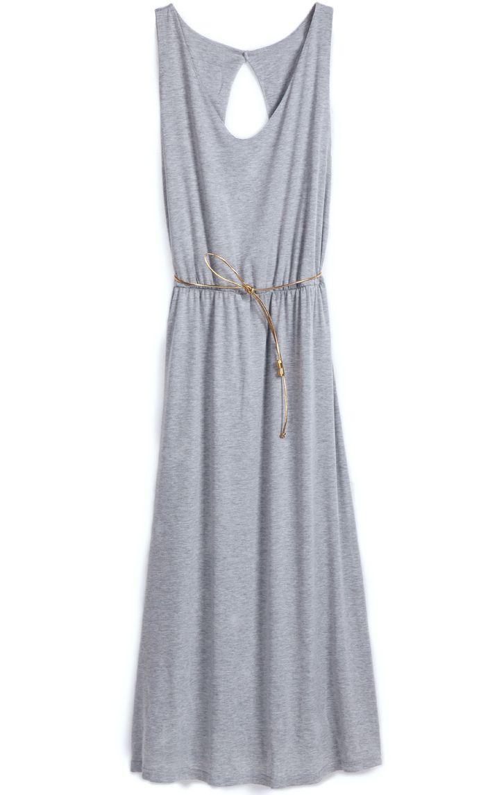 Grey Sleeveless Back Hollow Belt Dress