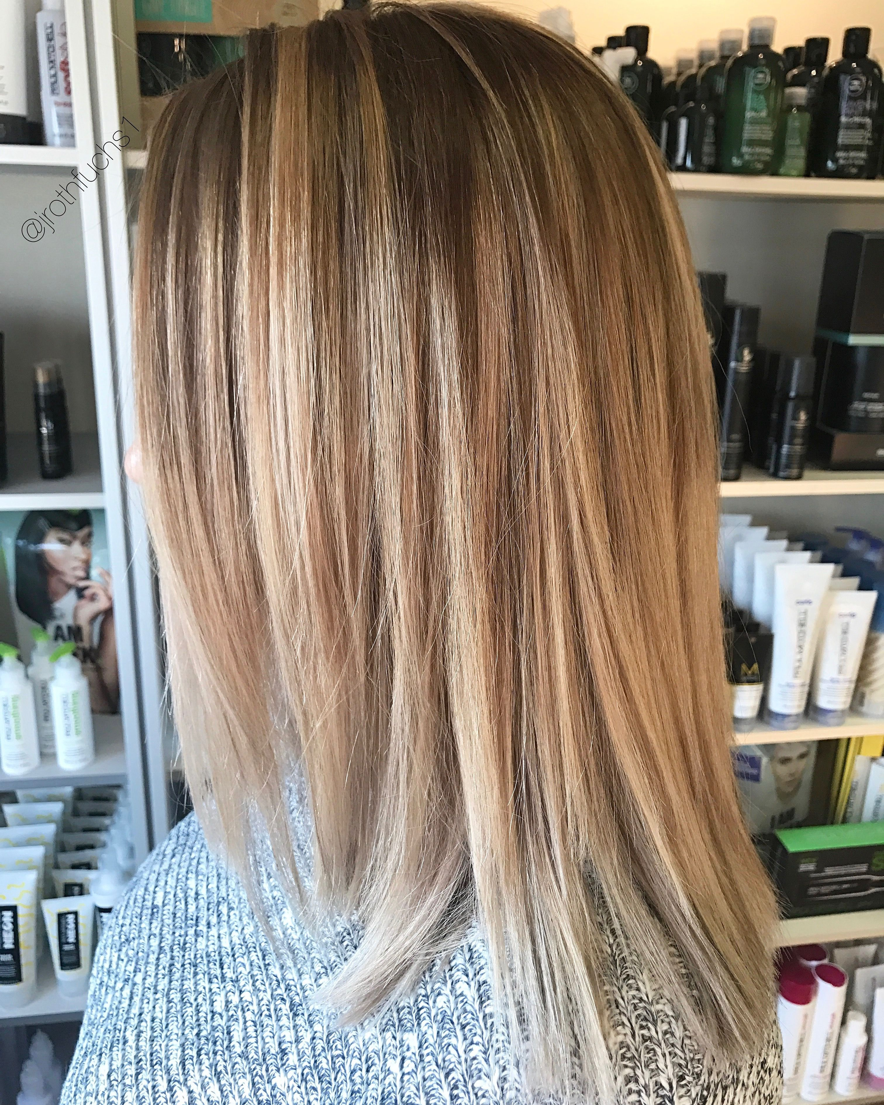 Balayage Ombr Blonde Brunette Hair Color Medium Length