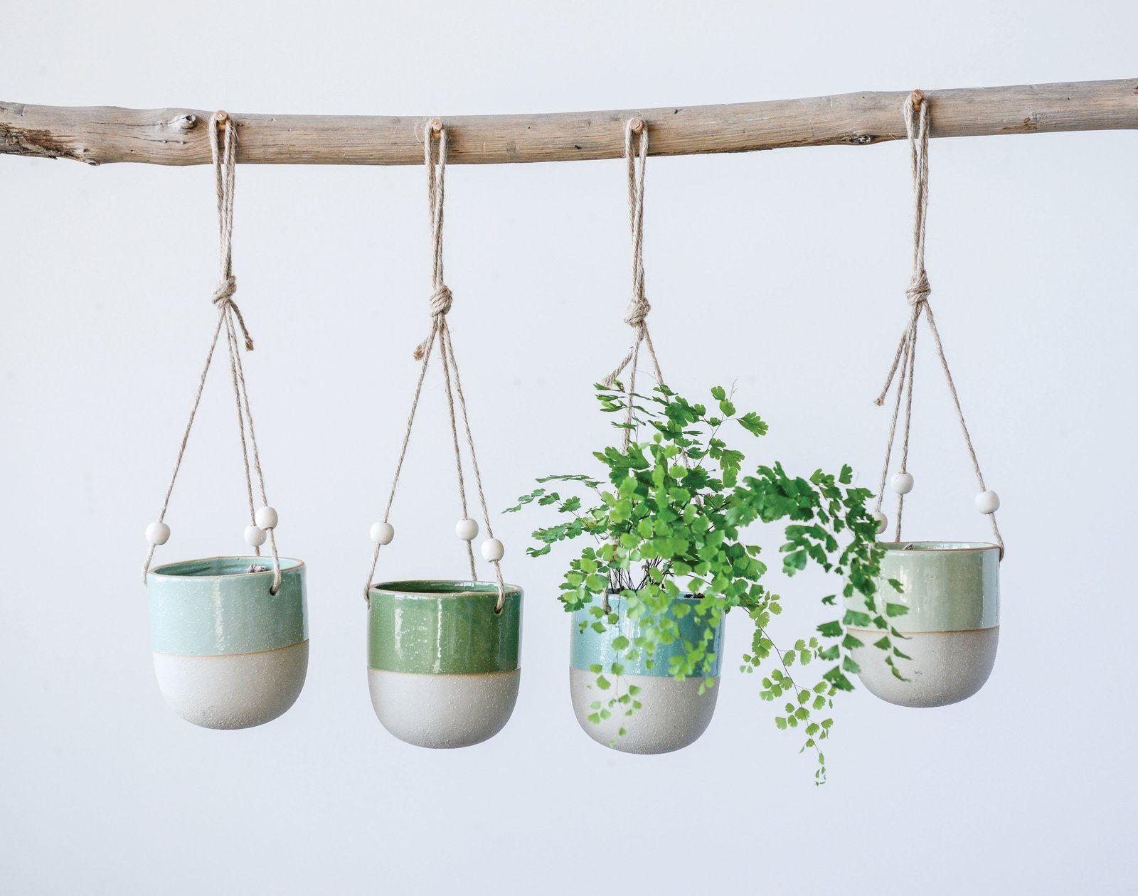 Kannon Matte Glaze Stoneware Hanging Planter Hanging Planters Hanging Plants Indoor Hanging Plants