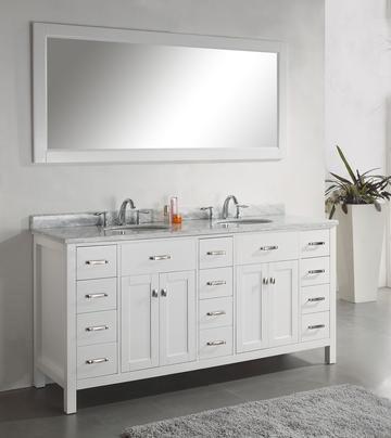 """Alexandria 72"""" Bathroom Vanity White: Home Decor Store ..."""