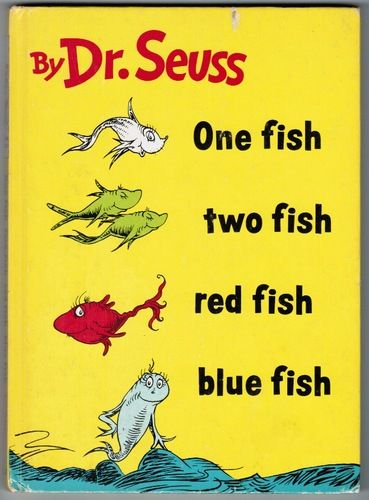 One fish two fish red fish blue fish 1960 edition best for Red fish blue fish book