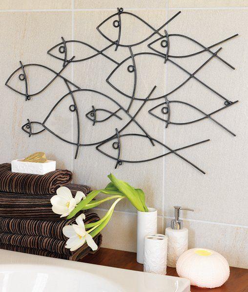 modern bathroom wall art models fish wall art metal on bathroom wall decor id=96444