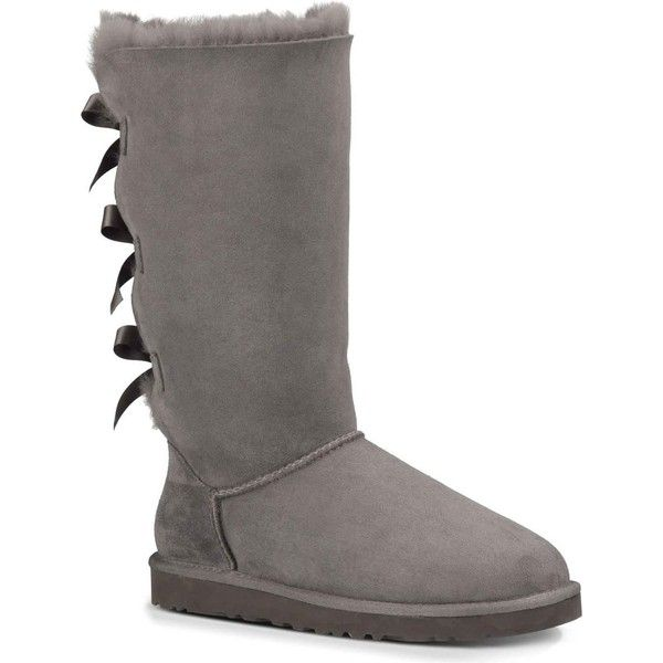 a2fdd8ca65c UGG Australia Women's Bailey Bow Tall Grey Boots ($250) ❤ liked on ...